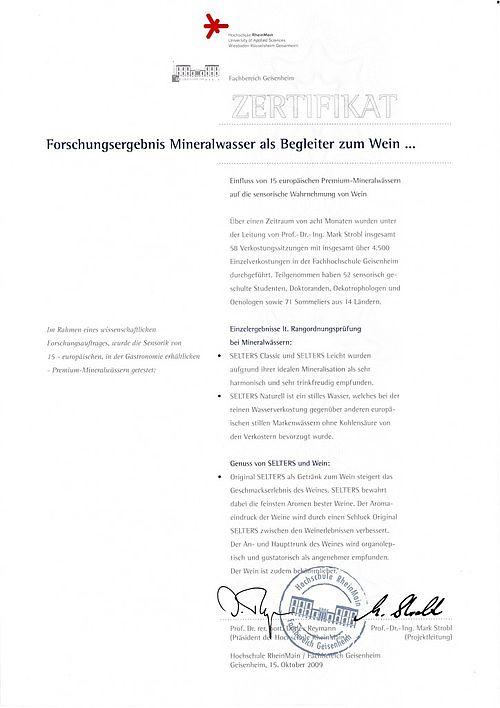 Forschungsergebnis Mineralwasser Von Geisenheimer Professor Dr Mark